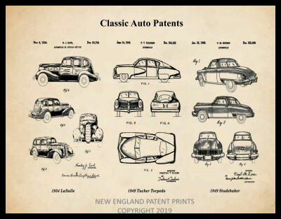 Classic Auto Patents Patent Print - Sepia Framed