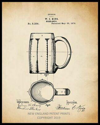 Beer Mug Patent Print - Sepia Framed