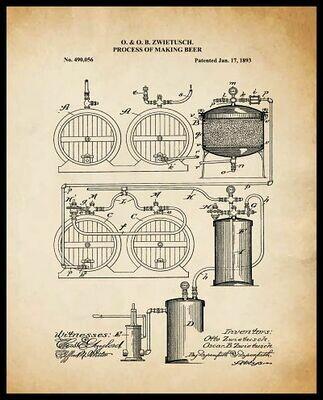 Beer Making Process - Sepia Framed
