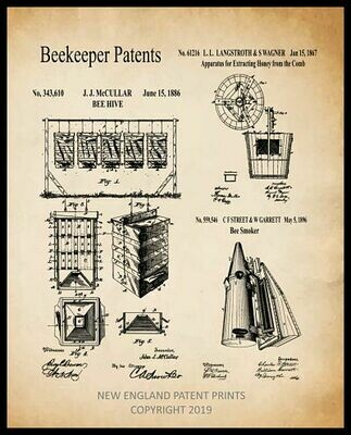Beekeeper Collage Patent Print - Sepia Framed