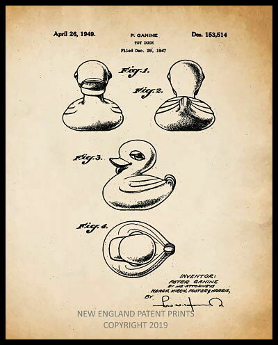 Rubber Duck Patent Print - Sepia Framed