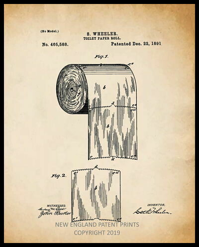 Toilet Paper Patent Print - Sepia Framed
