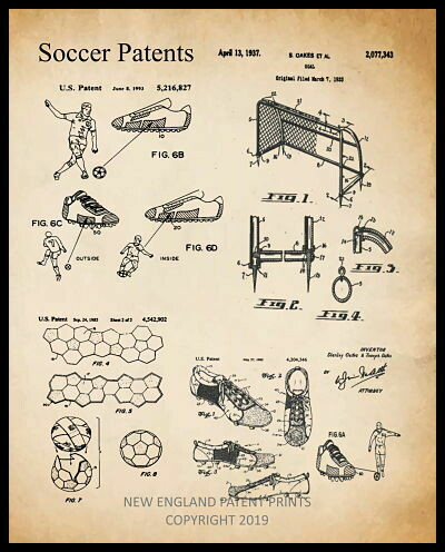 Soccer Collage Patent Print - Sepia Framed