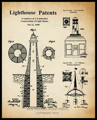 Lighthouse Collage Patent Print - Sepia Framed