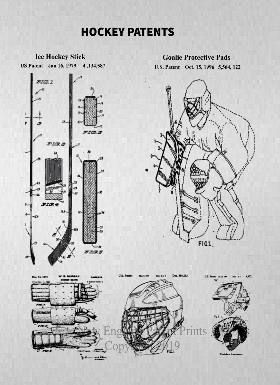 Hockey Collage Patent Print - Gray Framed