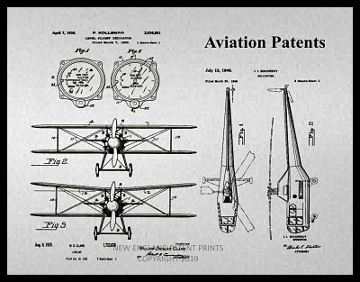 Plane Aviation Collage Patent Print Framed - Gray & Sepia