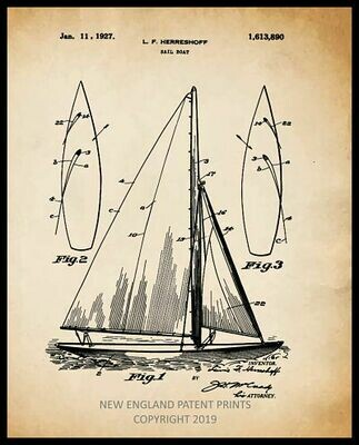 Sailboat Patent Print Framed - Sepia