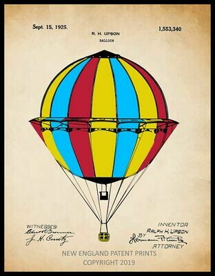 Hot Air Balloon Patent Print Framed - Color