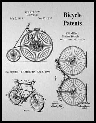 Bicycle Collage Patent Print Framed - Gray & Sepia