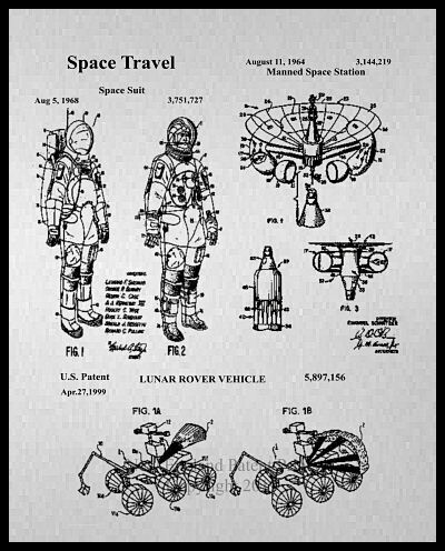 Space Astronaut Collage Patent Print Framed - Gray & Sepia