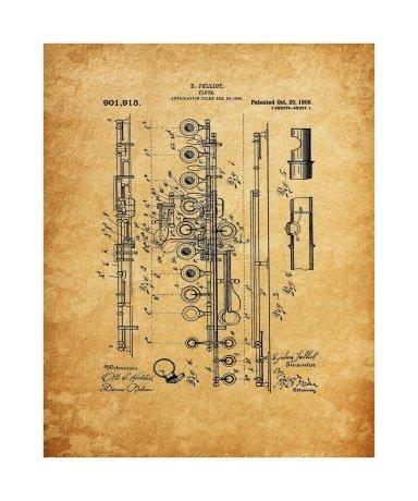 Flute, 1908, Unframed & Matted