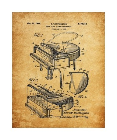 Grand Piano, 1939, Unframed & Matted