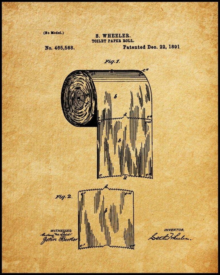 Framed Toilet Paper Patent Print