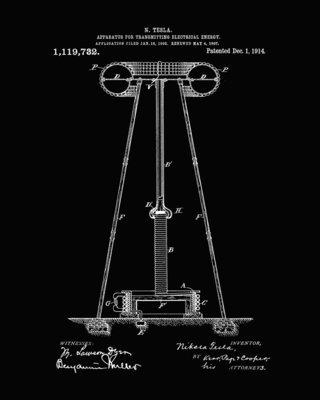 Nikola Tesla Patent Prints - Black - Six Unframed Prints