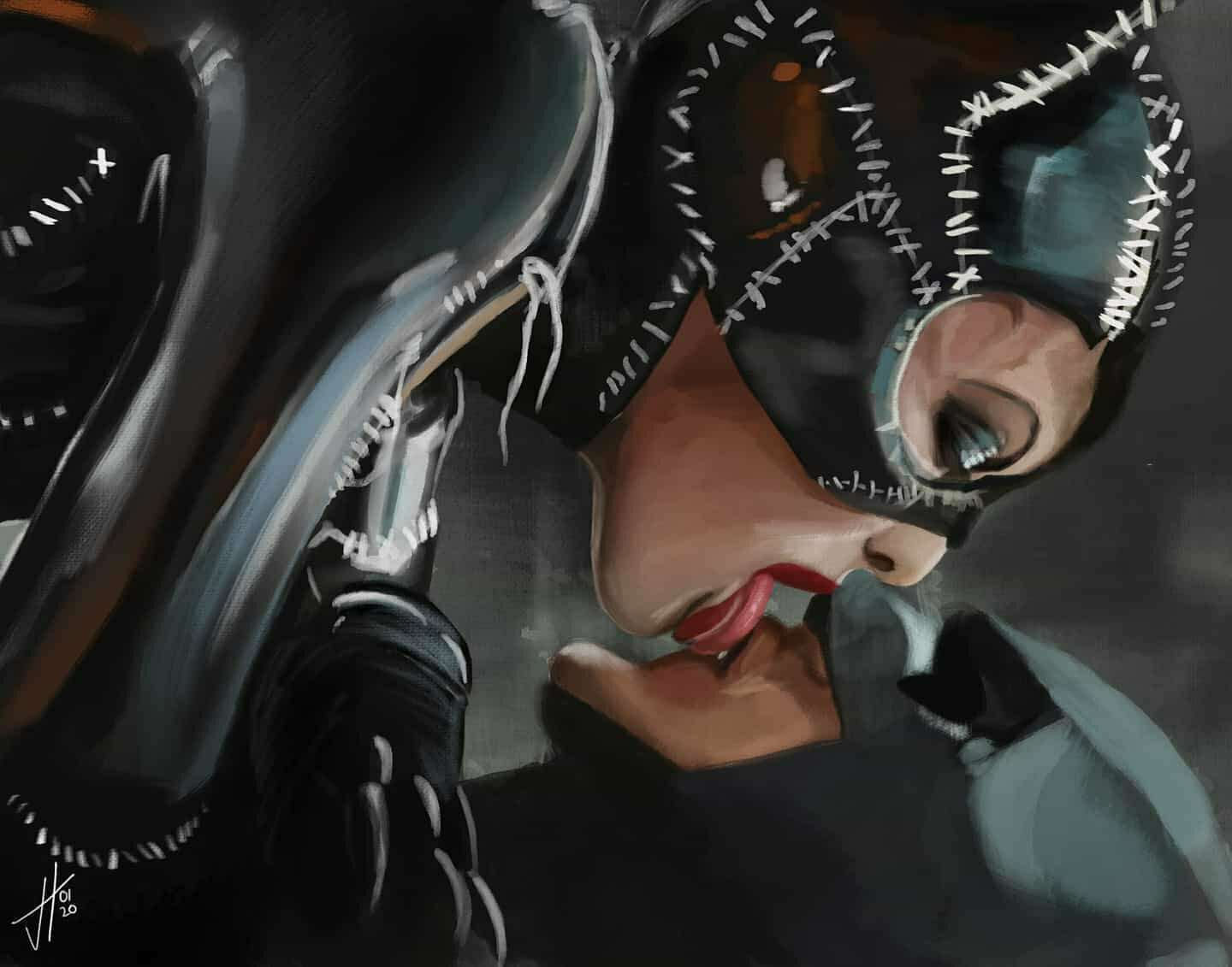 Batman Returns Catwoman Michelle Pfeiffer Michael Keaton Portrait Art Print