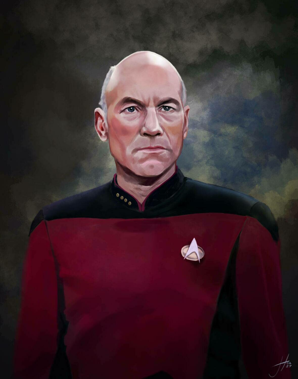 Patrick Stewart Jean Luc Picard On Star Trek Art Print