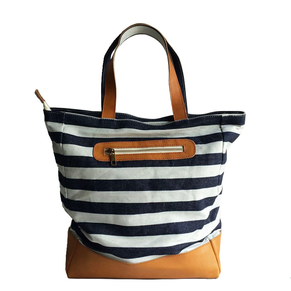 The striped sailor personalized Denim tote bags