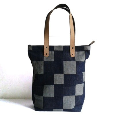 Denim Tote Bag With Genuine Leather Strap-Free Shipping