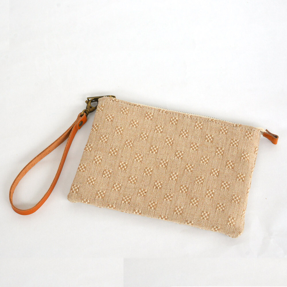 Wristlet Cosmetic Bag, Makeup Bag, Bridesmaid gifts, travel pouch,linen, zip top,vegetable tanned leather belt