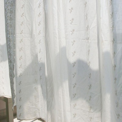 Embroidered curtains-Cotton-W55″ x H108″/ W140cm x H275cm