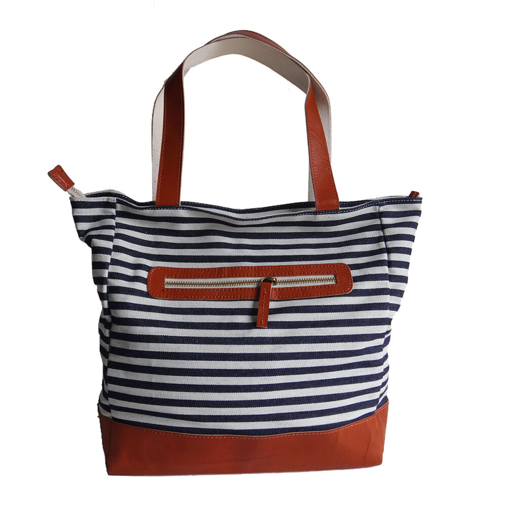 The striped Denim tote bags
