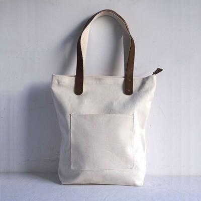 Blank Original Canvas Tote Bag Genuine Leather Handles