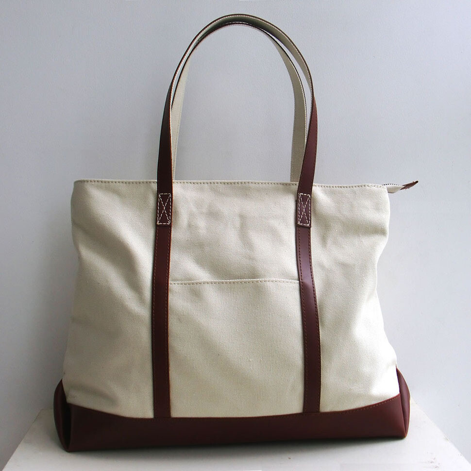 BLANK ORIGINAL CANVAS TOTE BAG WITH GENUINE LEATHER STRAP-Free Shipping