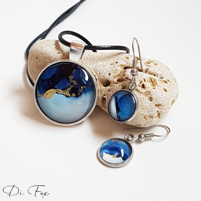 Denim Blue pendant necklace earring set