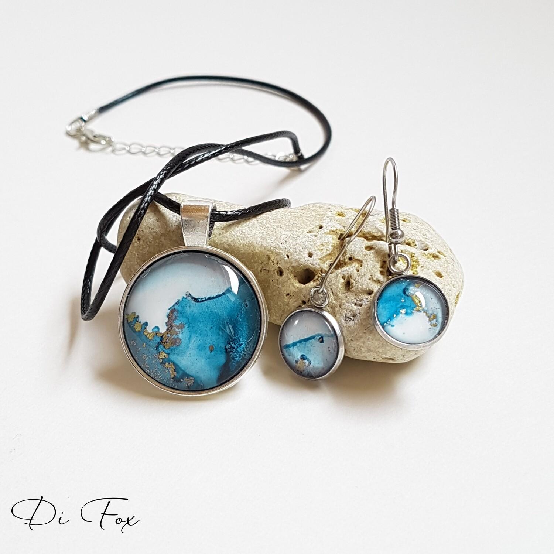 Denim Blue ocean inspired pendant necklace earring set