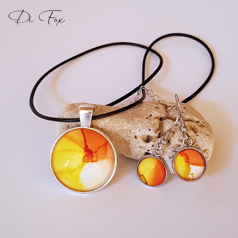 Yellow Orange White pendant necklace and earring set