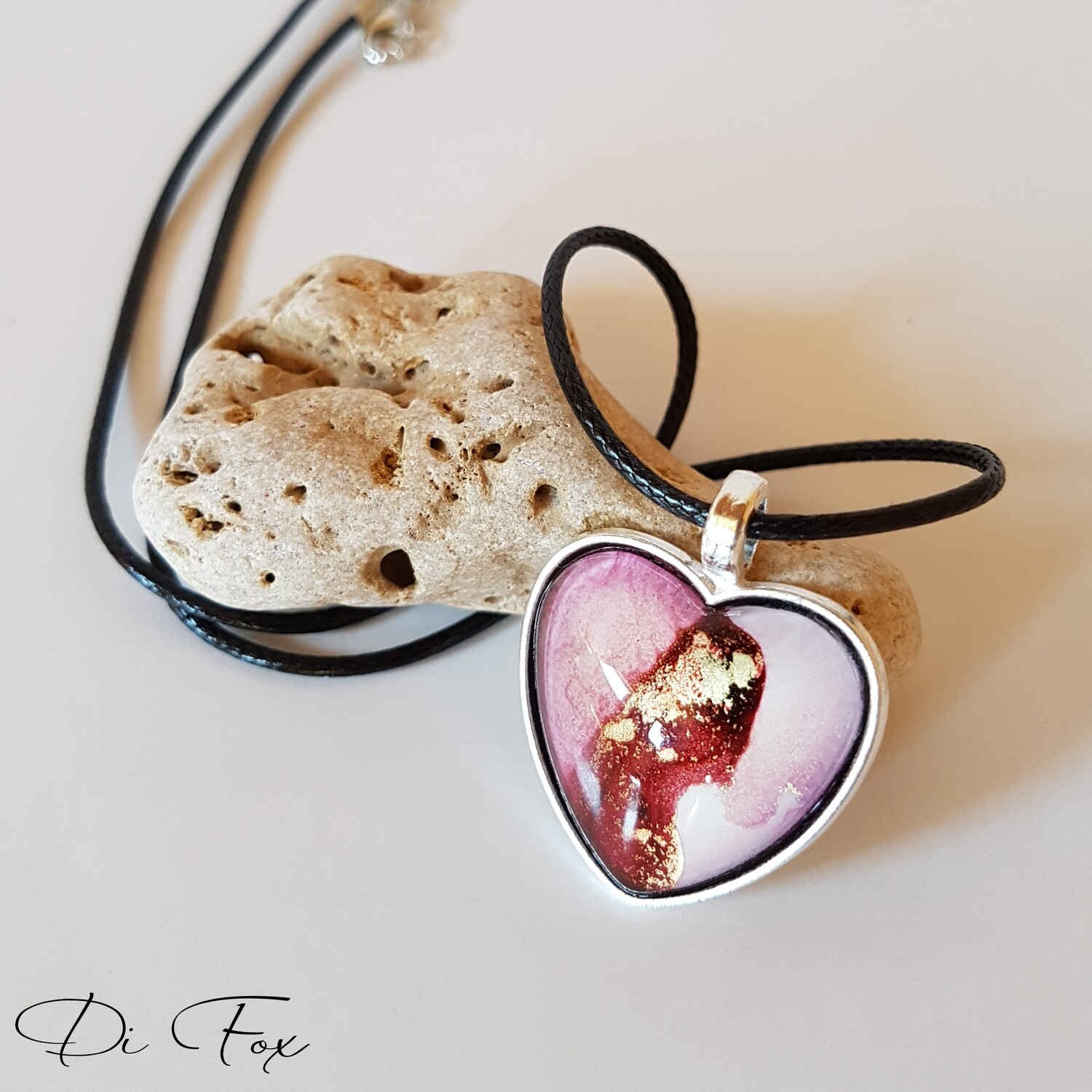 Light and dark Pink with White, and Gold Heart shape pendant necklace