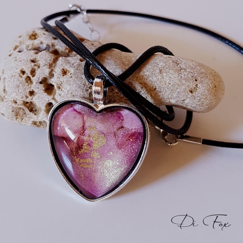 Dark Pink with Gold flecks Heart shape pendant necklace