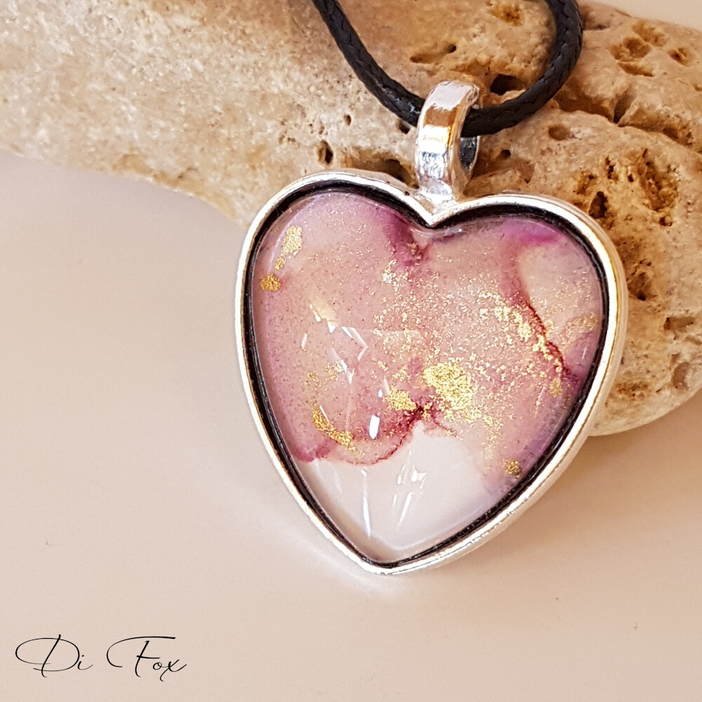 Dusky Pink with White Heart shape pendant necklace