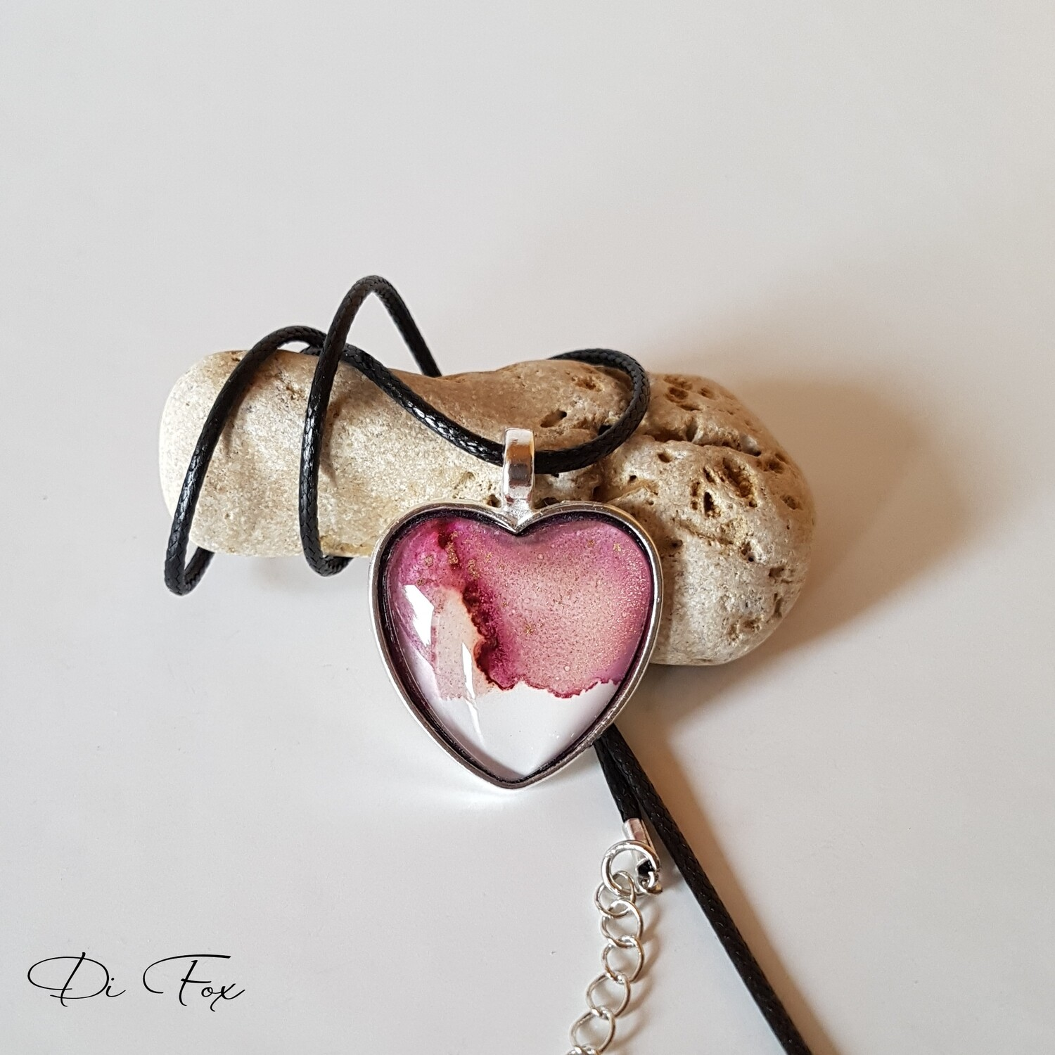 Pink and White Heart shape pendant necklace