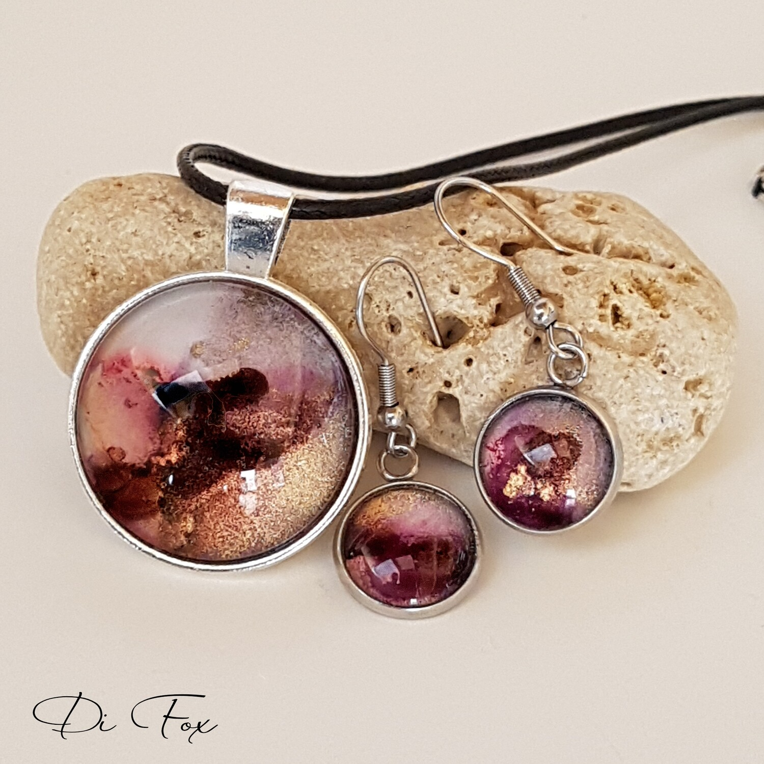 Aubergine Black Blue Pink and Gold pendant necklace and earring set