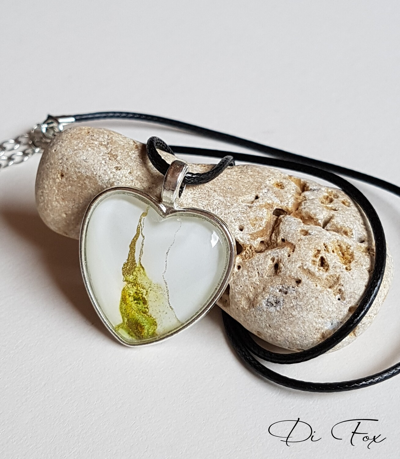 Olive Green and White Heart shape pendant necklace