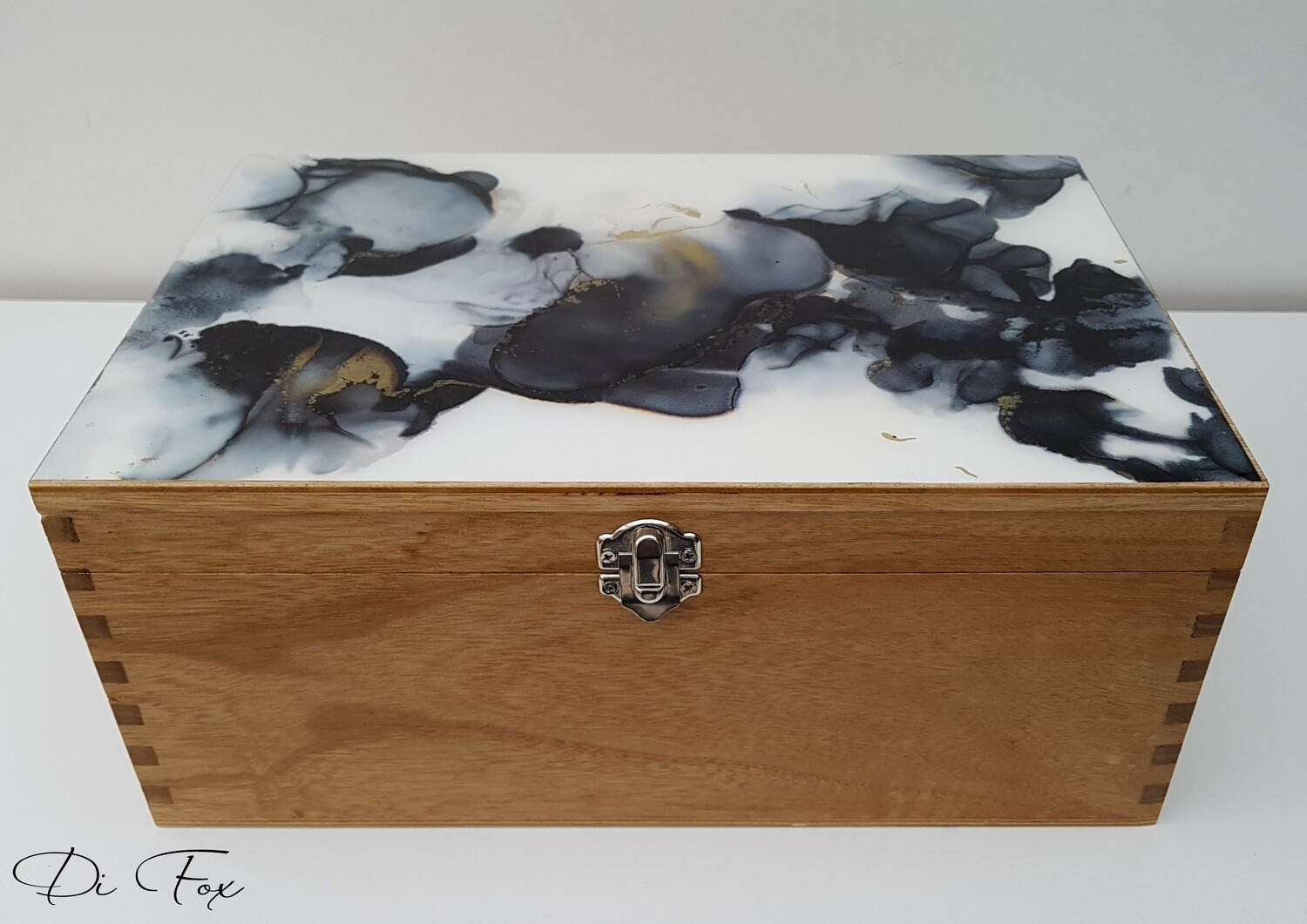 Decorative wooden storage box with Black White and Gold lid