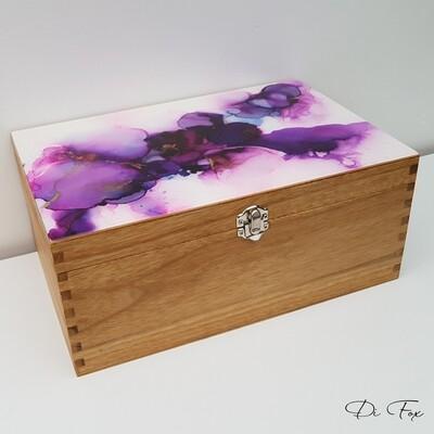 Decorative wooden storage box in Purple Pink & Gold