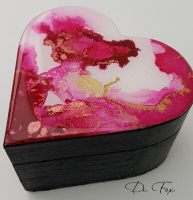 Small wooden heart shaped jewellery box with a decorative lid