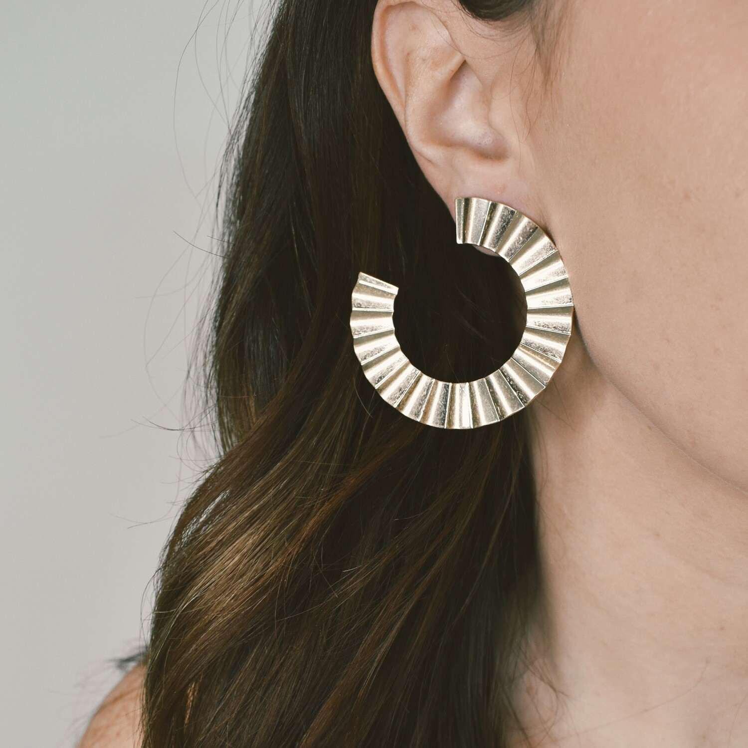 Gold Accordion Hoops