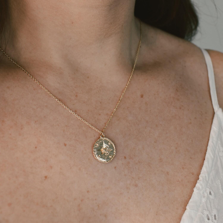 Golden Compass Pendant Necklace