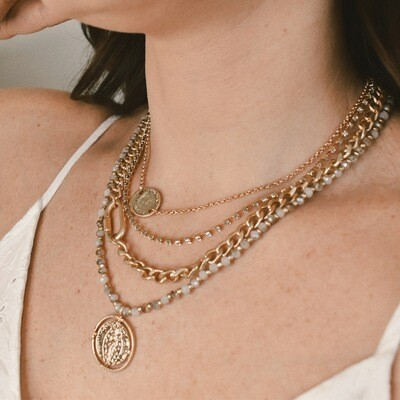 Multi Strand Coin Pendant Necklace