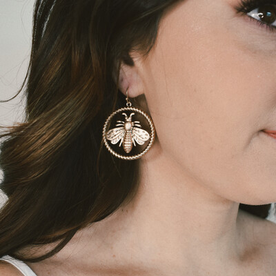 Gold Bee Drop Hoops