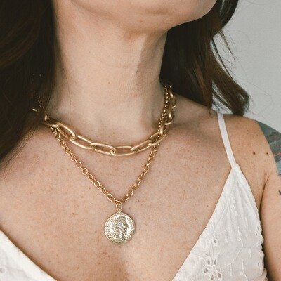 Layered metal chain coin pendant necklace