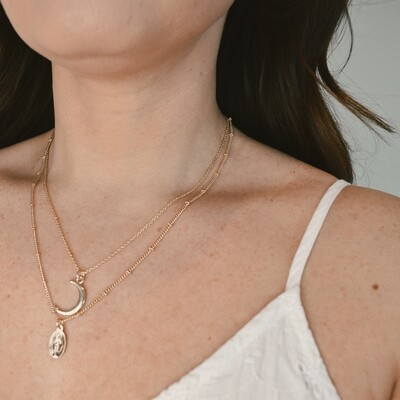 Moon and Saint Coin Layered Necklace
