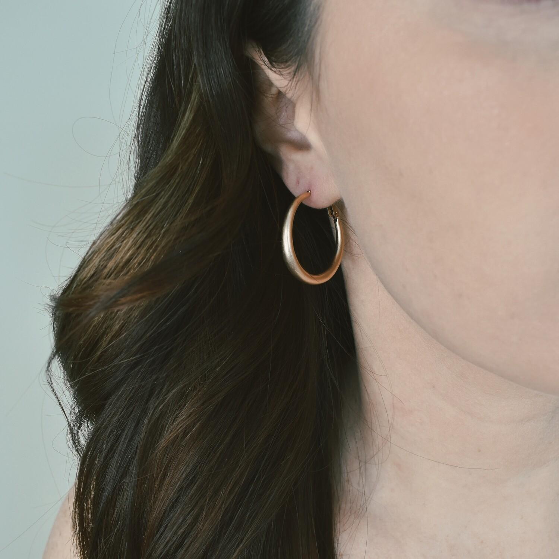 Worn Gold Wedge Hoop Earring