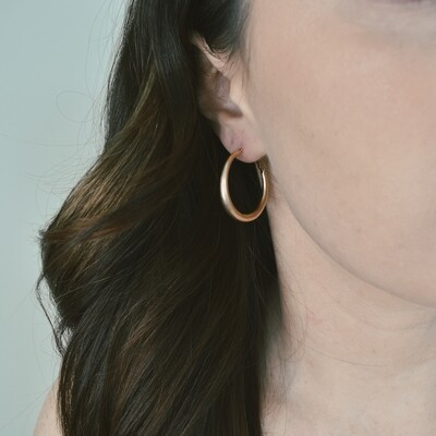 Worn Gold Wedge Hoop Earring