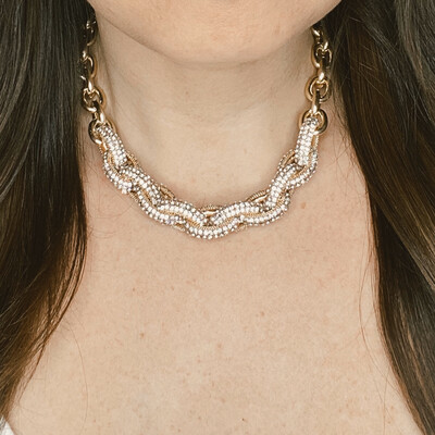 Crystal Accent Chain Link Necklace
