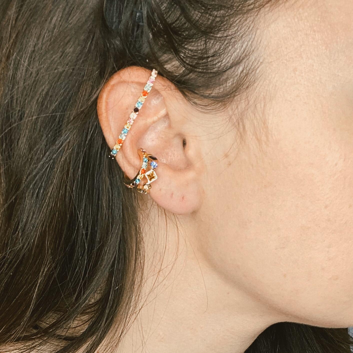 Rainbow Crystal Ear Cuffs