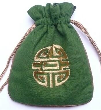 Linen Mala Bag Green